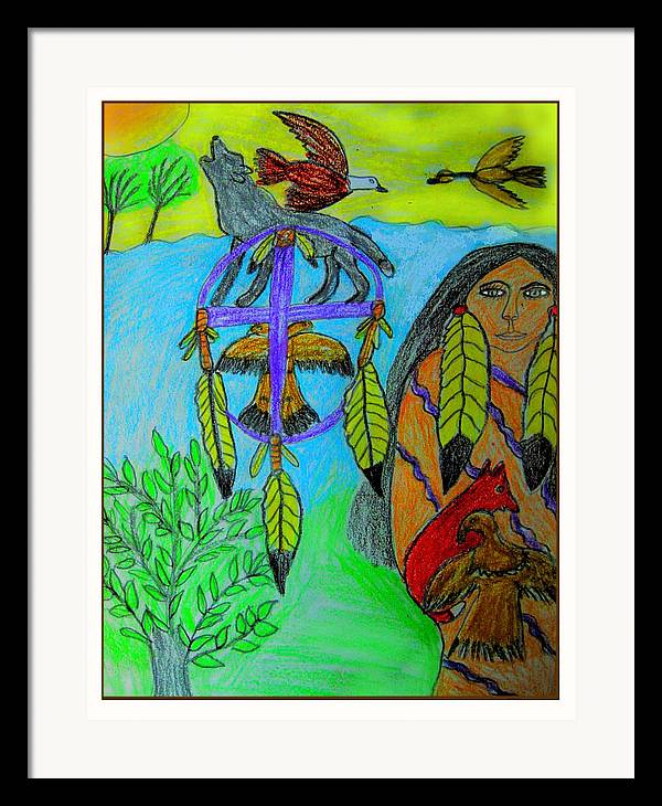 Dream Catchers Framed Print featuring the drawing Natural Dream Catcher by Betty J Roberts