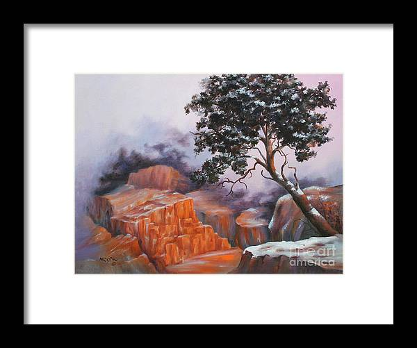Landscape Framed Print featuring the painting Nature At Rocky Kingdom by Marta Styk
