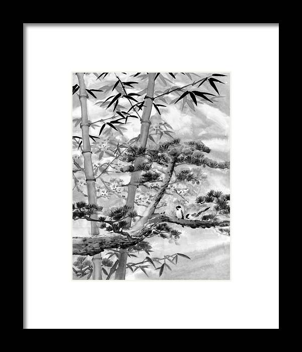 Black And White Framed Print featuring the painting Nature by Eileen Fong