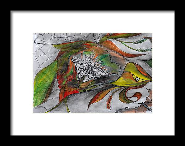 Leaves Flowers Butterfly Websbats Framed Print featuring the painting Nature by Irum Iftikhar