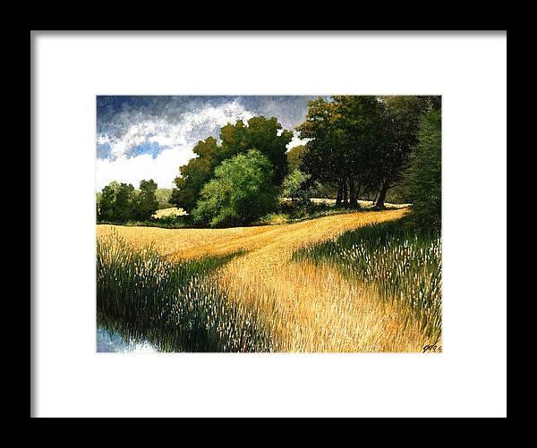 Landscape Framed Print featuring the painting Nature Walk Ridgefield Washington by Jim Gola