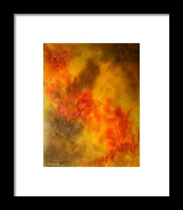 Abstract Framed Print featuring the painting Natures Burn by William Burgess