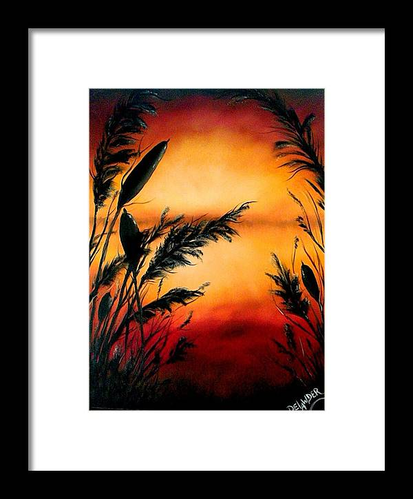 Landscape Framed Print featuring the painting Nature's Whisper by Mary DeLawder