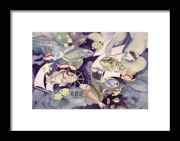 Sealife Framed Print featuring the painting Nautical Players by Liduine Bekman