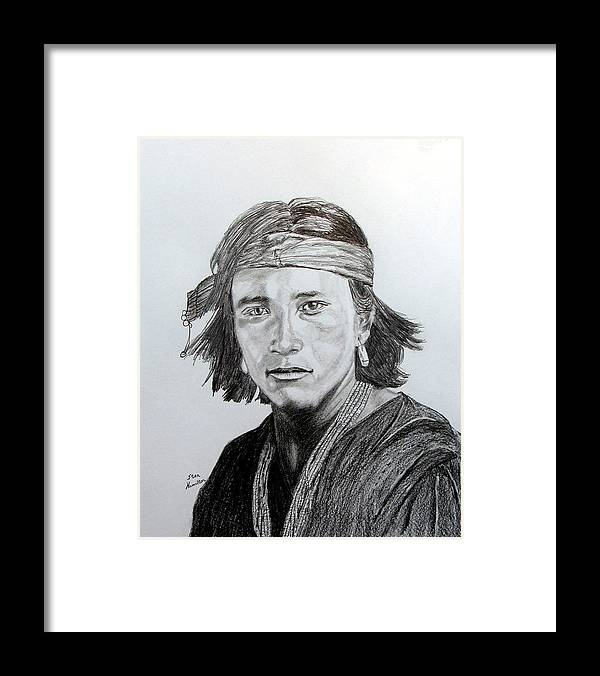 Original Drawing Framed Print featuring the drawing Navaj Brave by Stan Hamilton