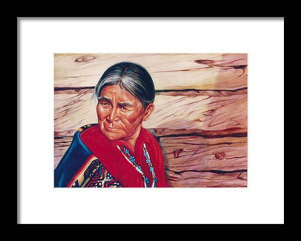 Native American Framed Print featuring the painting Navajo Woman by Naomi Dixon