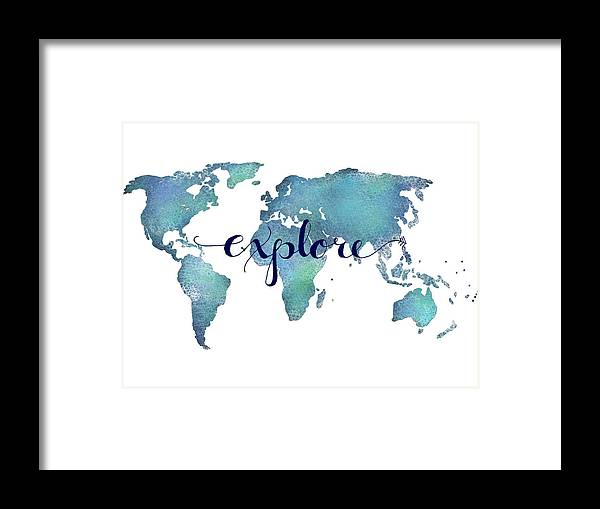 Navy And Teal Explore World Map Framed Print By Michelle Eshleman