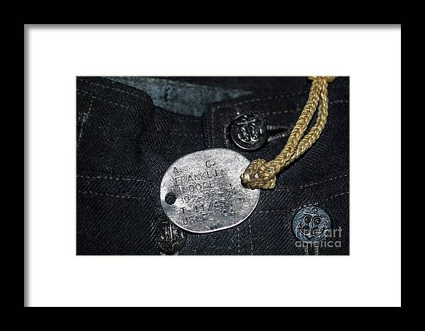 World War Ii Framed Print featuring the photograph Navy Dog Tag by Dale Powell