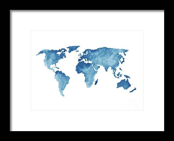 World Map Blue Navy Kids Room Painting Watercolor Baby Boy Nursery