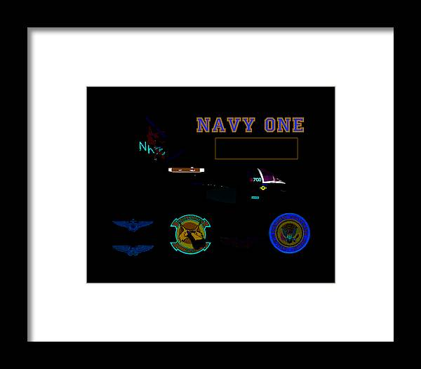 Aviation Framed Print featuring the digital art Navy One by Mike Ray