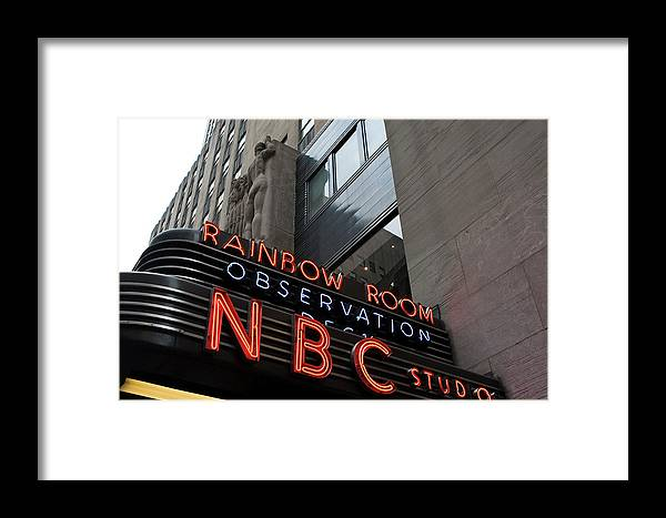 Iconic Sign Framed Print featuring the photograph Nbc Studio Rainbow Room Sign by Lorraine Devon Wilke