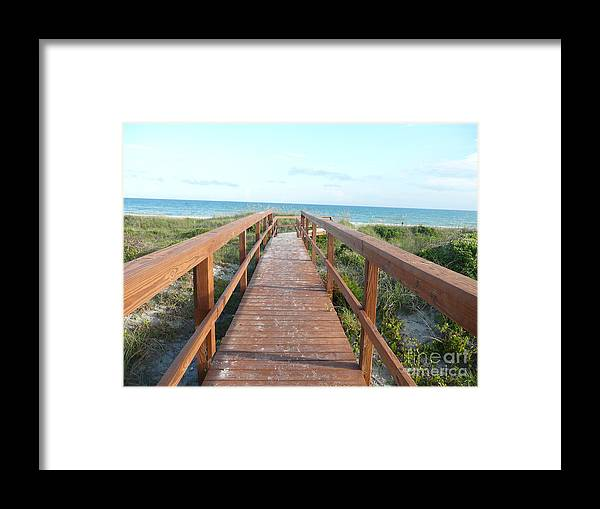 Boardwalk Framed Print featuring the photograph Nc Beach Boardwalk by Barb Montanye Meseroll
