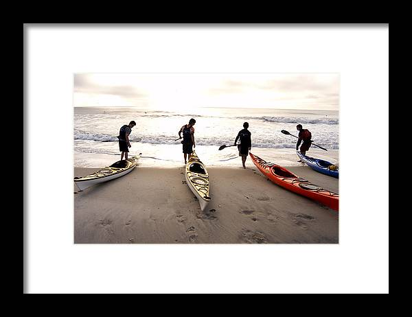 Kayaker Framed Print featuring the photograph Nc Kayakers by Robert Ponzoni