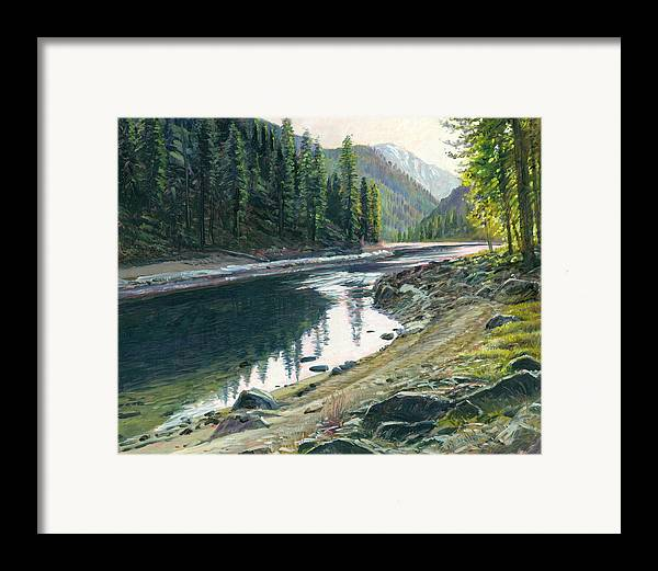 River Framed Print featuring the painting Near Horse Creek by Steve Spencer