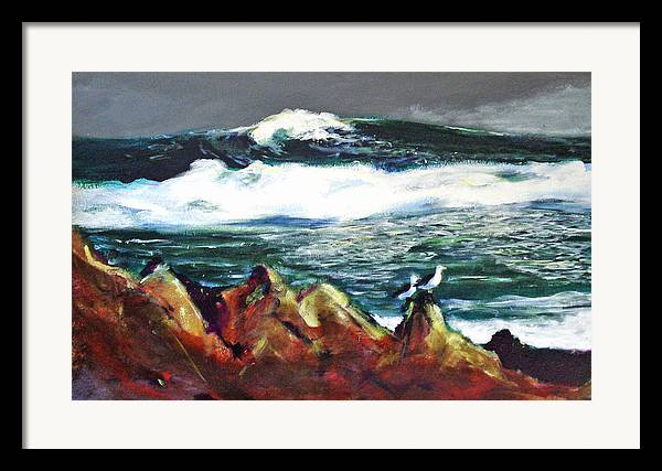 Seascape Framed Print featuring the painting Near Pacific Grove by Paul Miller