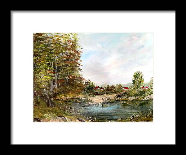 Pond Framed Print featuring the painting Near The Pond by Dorothy Maier