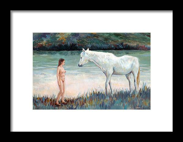 Horse Framed Print featuring the painting Near The Waterhole by Ekaterina Mortensen