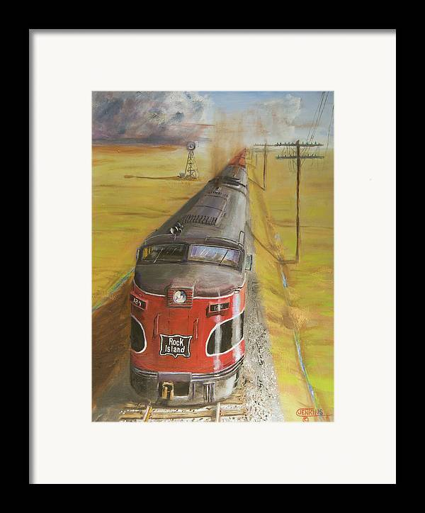 Train Framed Print featuring the painting Near Thistle Ks by Christopher Jenkins