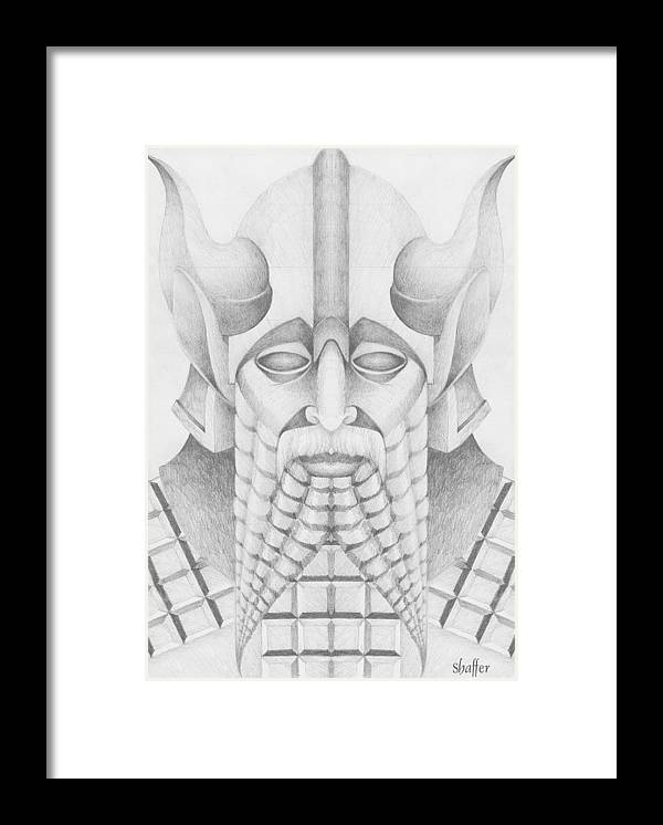 Babylonian Framed Print featuring the drawing Nebuchadezzar by Curtiss Shaffer
