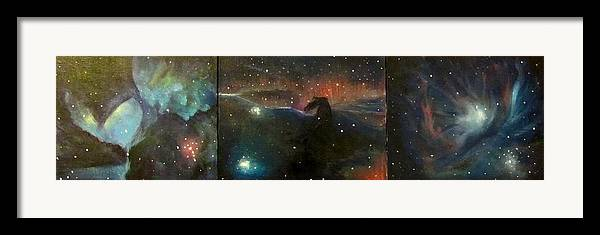 Space Framed Print featuring the painting Nebula Triptych by Alizey Khan