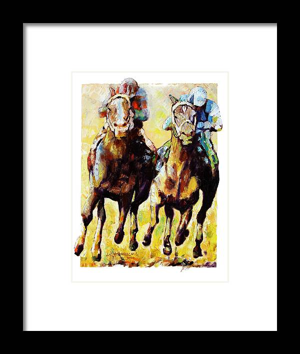Horse Race Framed Print featuring the painting Neck and Neck by John Lautermilch