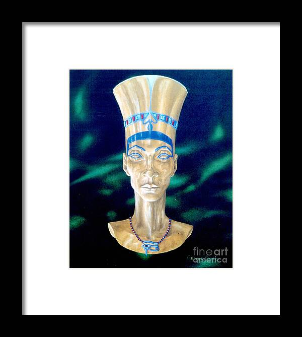 Egyptian Framed Print featuring the painting Nefertiti by George Combs
