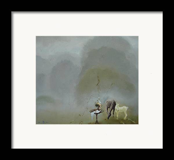 Landscape Framed Print featuring the painting Neglected Garden by Andrej Vystropov