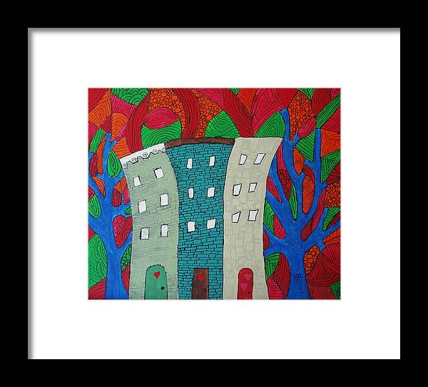 Houses Framed Print featuring the painting Neighbors by Wayne Potrafka
