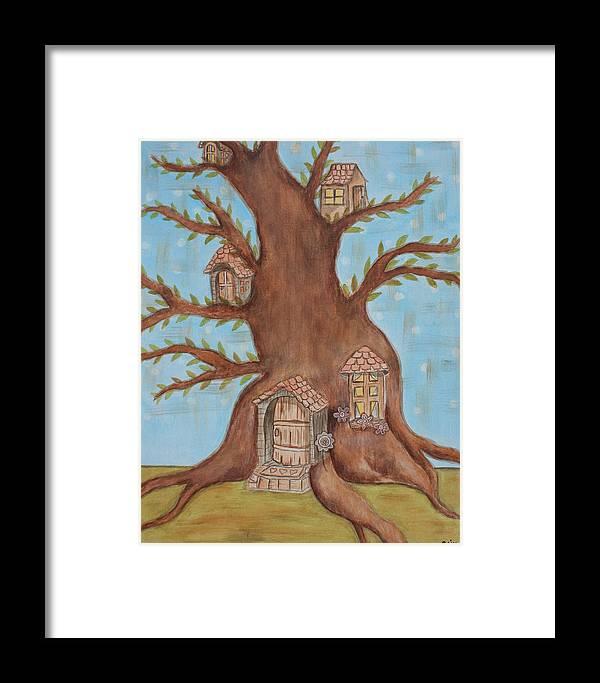 Folkf Art Paintings Framed Print featuring the painting Neighbourhood by Rain Ririn