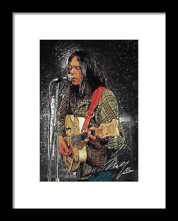 Neil Young Framed Print featuring the digital art Neil Young by Zapista OU