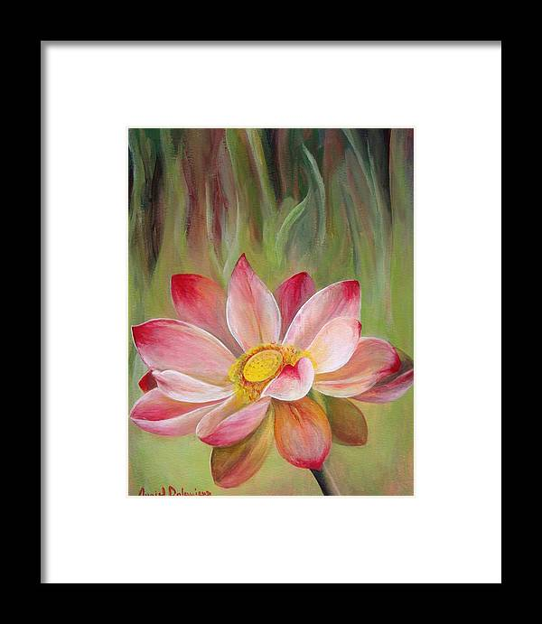 Flower Framed Print featuring the painting Nenuphar by Muriel Dolemieux