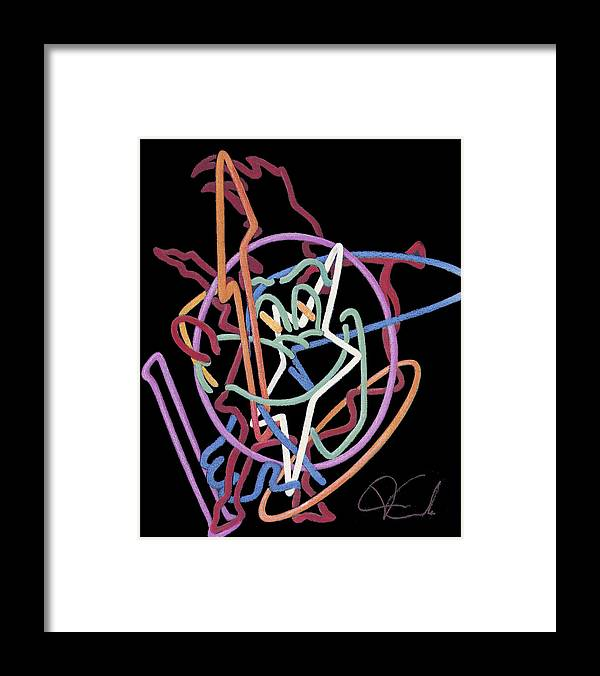 Cityscape Framed Print featuring the painting Neon Abstract by Van Cordle