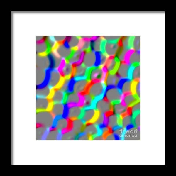 Unique Framed Print featuring the digital art Neon Color Links by Susan Stevenson