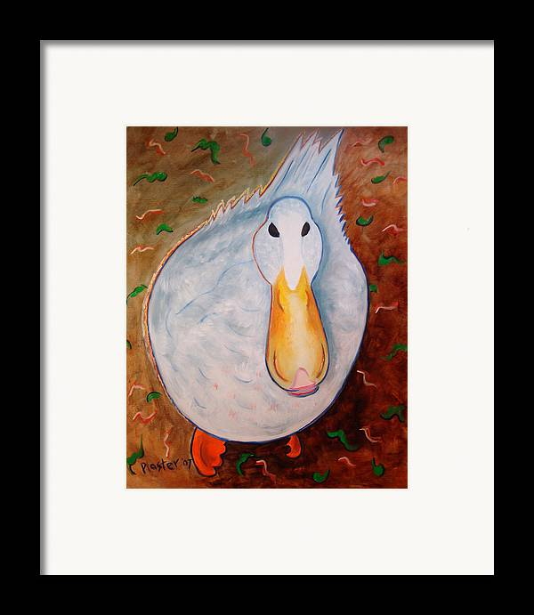 Animals Framed Print featuring the painting Neon Duck by Scott Plaster