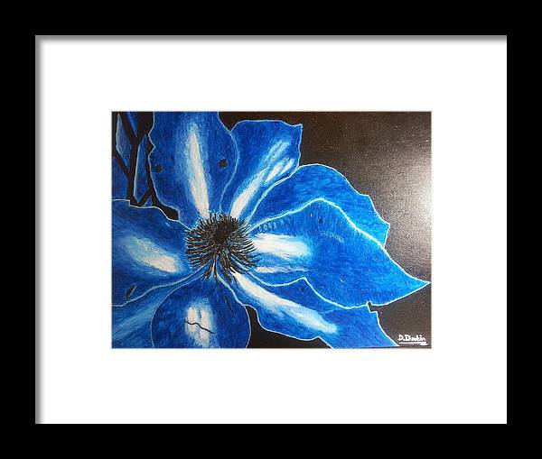 Neon Blue Framed Print featuring the painting Neon Flower by Denise Deskin