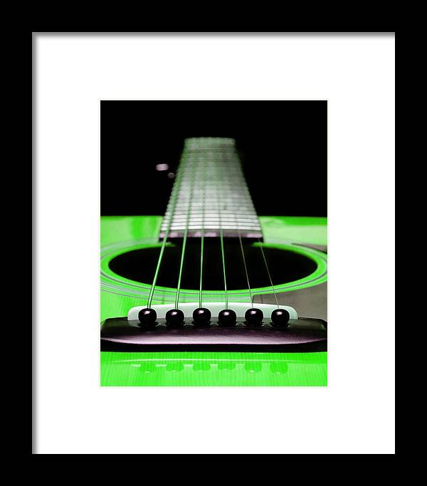 Andee Design Guitar Framed Print featuring the photograph Neon Green Guitar 18 by Andee Design