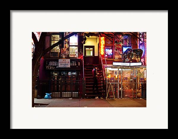 Nyc Framed Print featuring the photograph Neon Lights - New York City At Night by Vivienne Gucwa