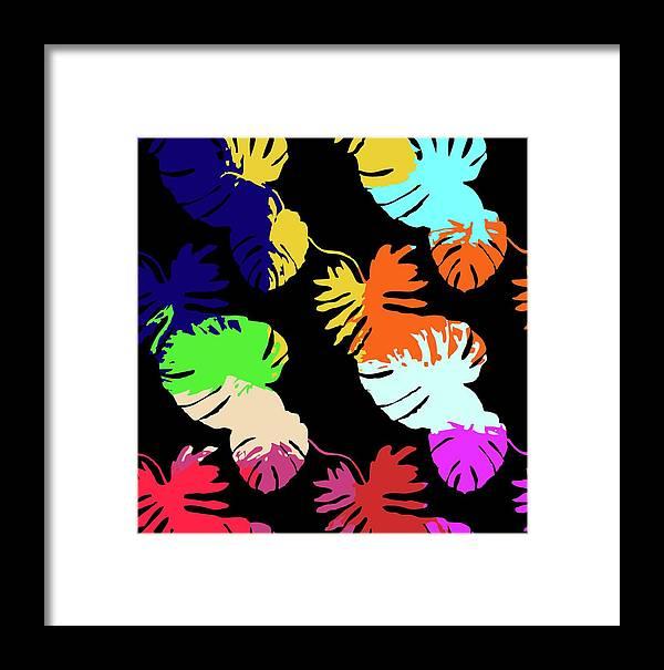 Neon Framed Print featuring the digital art Neon Palm by Saadana Shanmukam