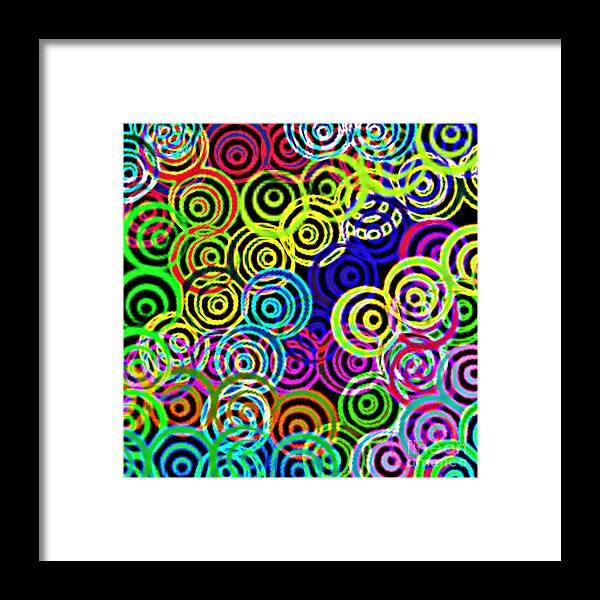 Unique Framed Print featuring the digital art Neon Swirls by Susan Stevenson