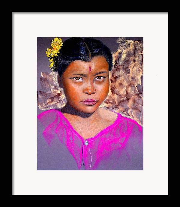 Nepal Framed Print featuring the painting Nepalese Girl by David Horning