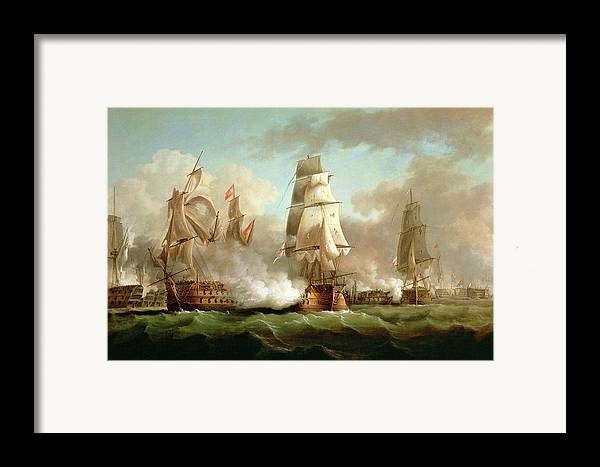 Neptune Framed Print featuring the painting Neptune Engaging Trafalgar by J Francis Sartorius