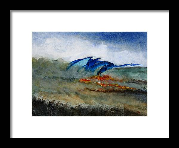 Dragons. Fantasy.fire. Smoke. Framed Print featuring the painting Nest Building by John Cox
