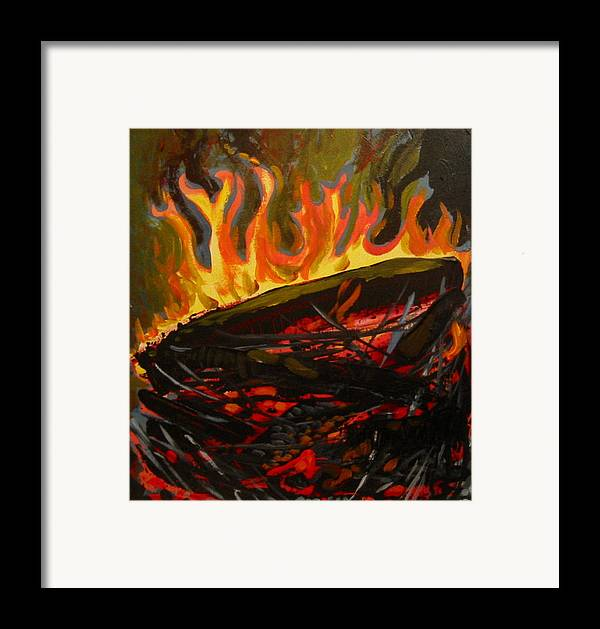 Nest Framed Print featuring the painting Nest On Fire by Tilly Strauss