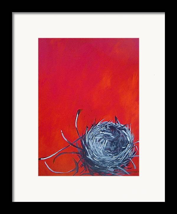 Nest Framed Print featuring the painting Nest On Red by Tilly Strauss