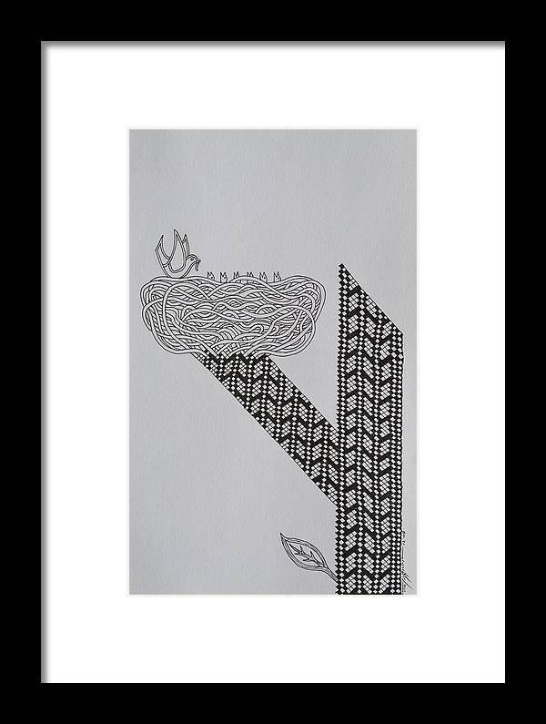 Nest Framed Print featuring the drawing Nest by Raul Agner