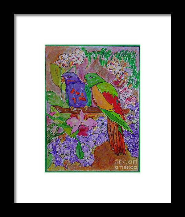 Tropical Pair Birds Parrots Original Illustration Leilaatkinson Framed Print featuring the painting Nesting by Leila Atkinson