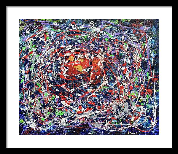 Abstract Expressionism Framed Print featuring the painting Net Of Indra by Art Enrico