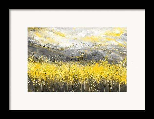 Neutral Sun Yellow And Gray Art Framed Print By Lourry