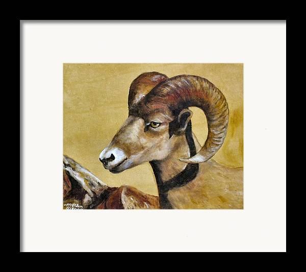 Wild Animals Framed Print featuring the painting Nevada Bighorn by Merle Blair