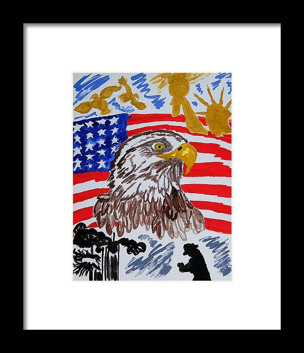 Watercolor Framed Print featuring the painting Never Forget Nine Eleven-always Remember Nine-twelve by Margaret G Calenda